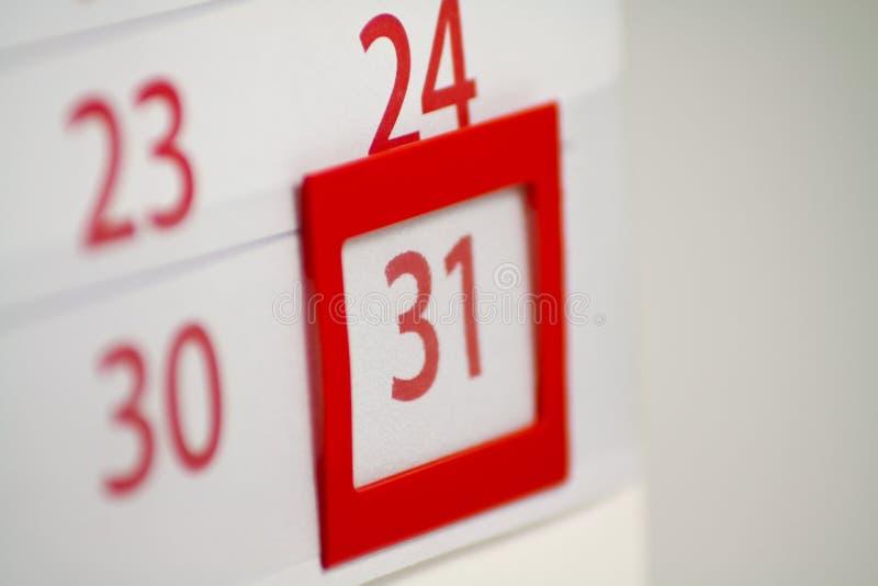 Calendário com os 31 no foco imagem de stock royalty free