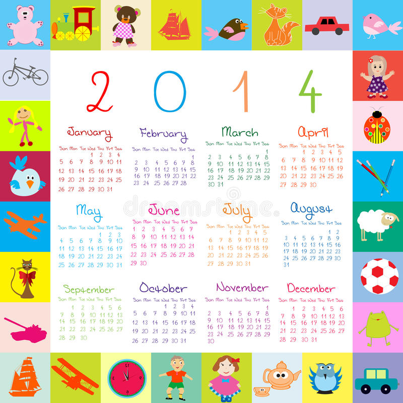Calendário 2014 com os brinquedos para crianças ilustração stock