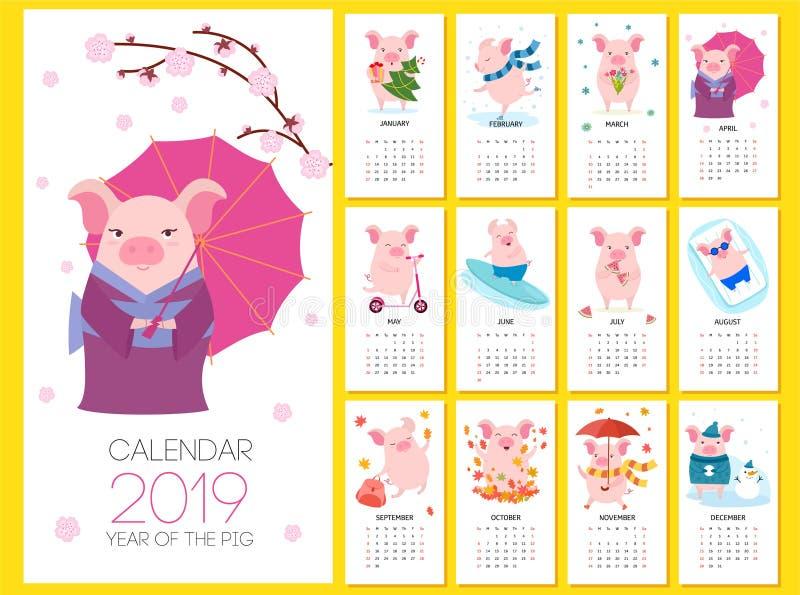 Calendário 2019 com porcos bonitos Ilustração do vetor ilustração stock