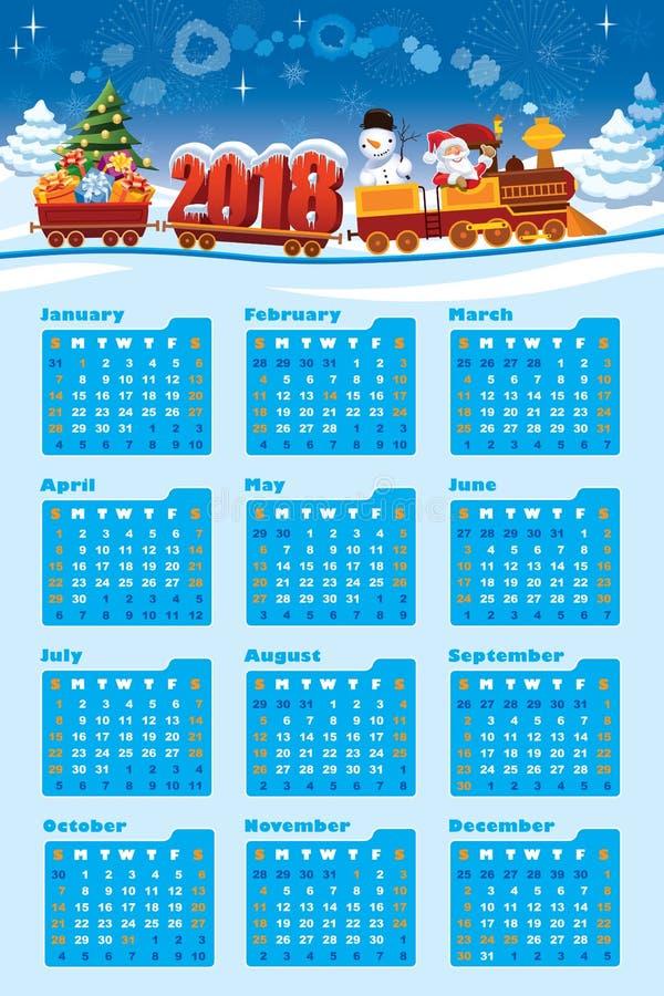 Calendário 2018 com Santa Claus ilustração stock