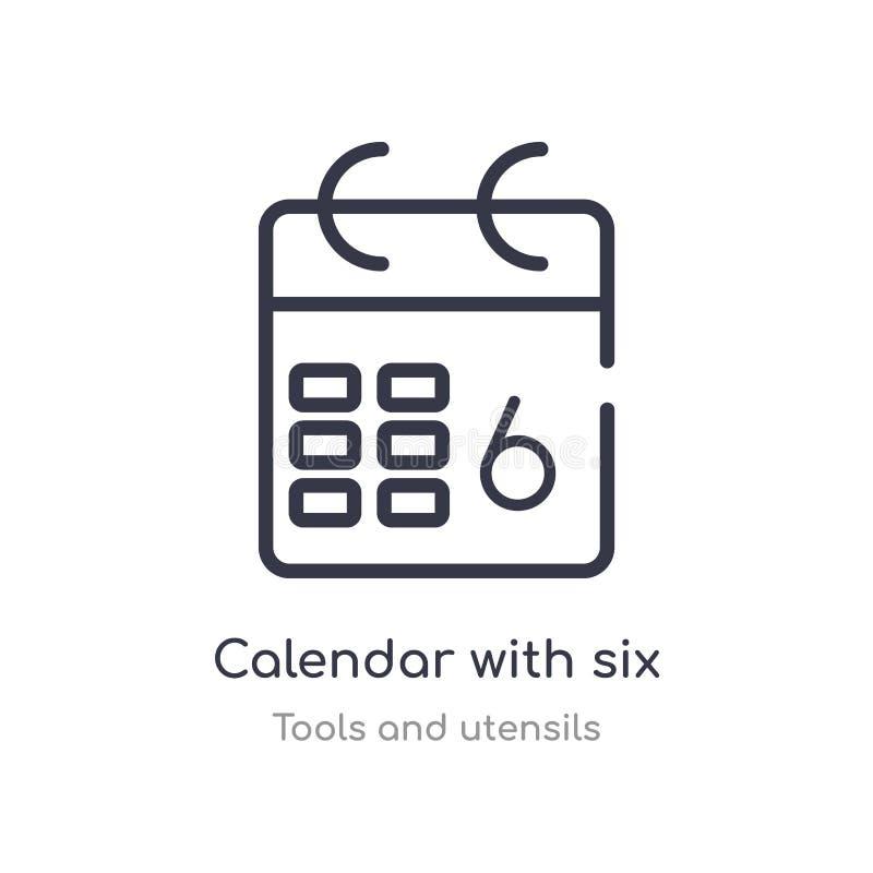 calendário com seis ícones do esboço dos dias linha isolada ilustra??o do vetor da cole??o das ferramentas e dos utens?lios curso ilustração stock