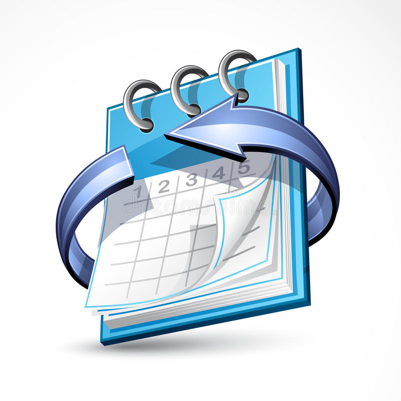 Calendário com seta azul ilustração stock