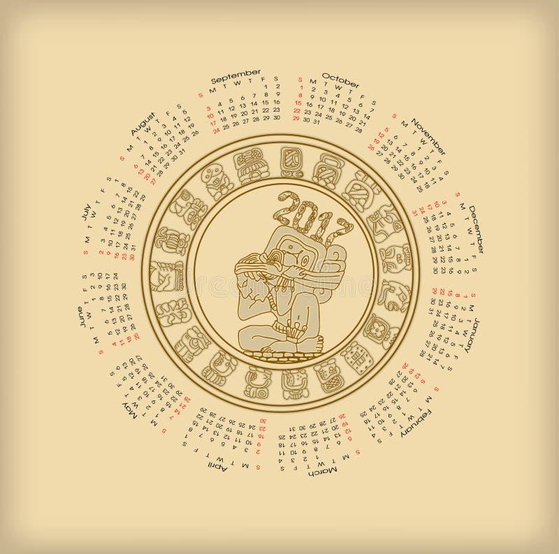 Calendário 2017 com symbolics do maya ilustração royalty free