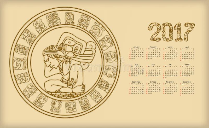Calendário 2017 com symbolics do maya ilustração do vetor