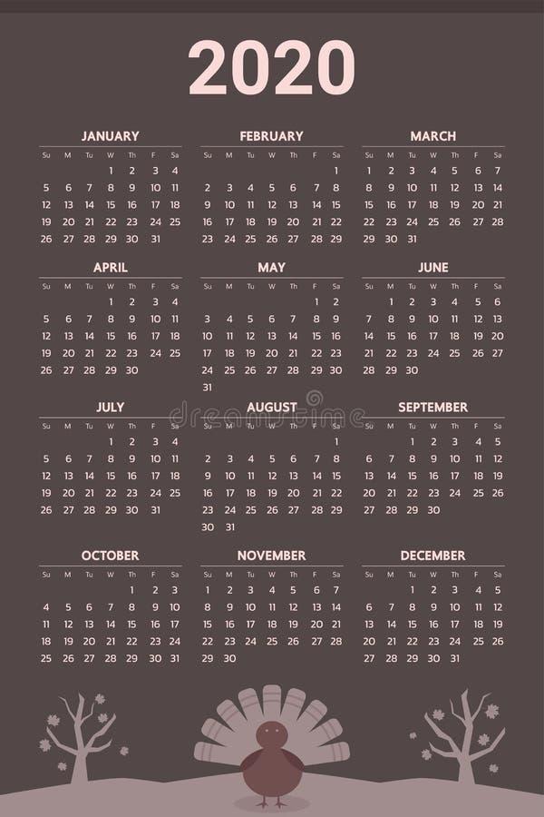 Calendário 2020 com tema da ação de graças - vetor ilustração stock