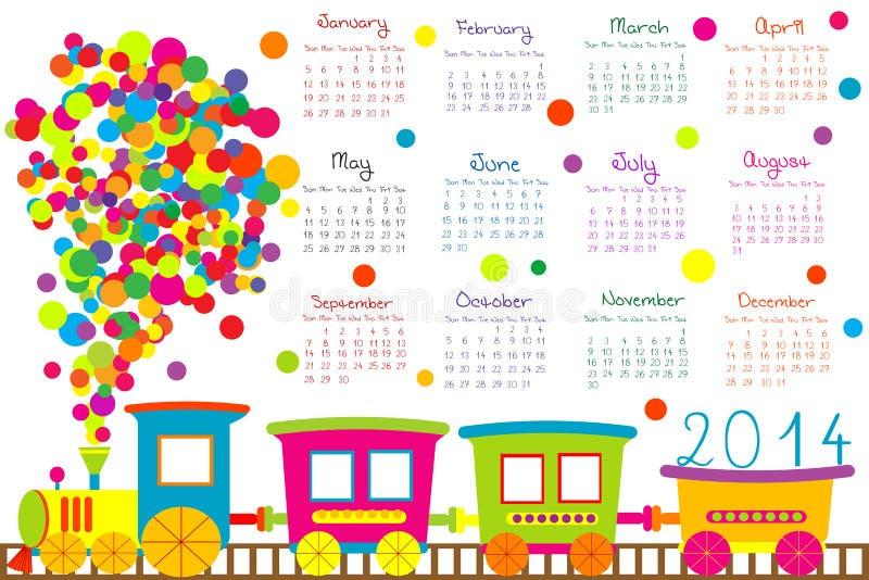 calendário 2014 com trem dos desenhos animados ilustração royalty free