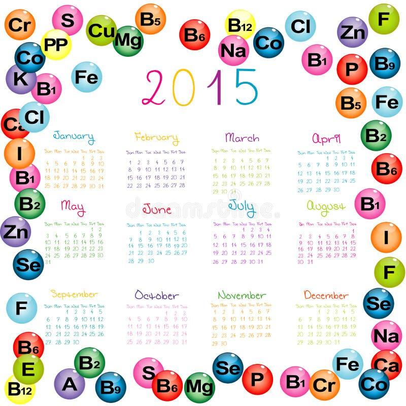 calendário 2015 com vitaminas e minerais para drograrias e hosp ilustração do vetor