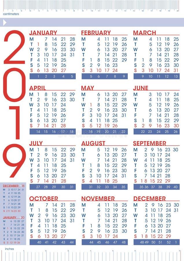 Calendário comercial 2019 com réguas ilustração stock