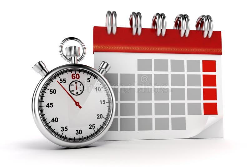 calendário 3d e cronômetro ilustração do vetor