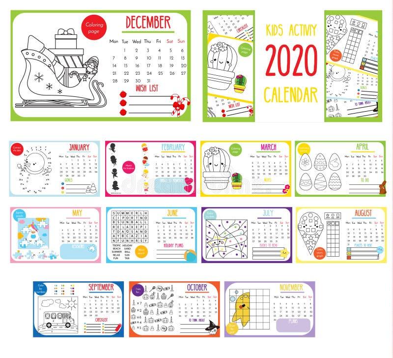 Calendário da atividade das crianças calendário 2020 anual com jogos educacionais para crianças e crianças Molde imprim?vel ilustração royalty free