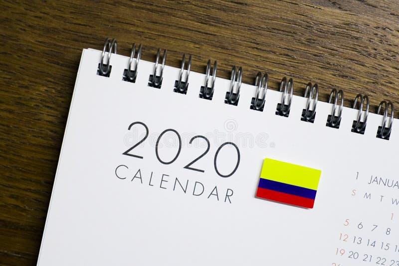 Calendário da bandeira de Colômbia 2020 ilustração royalty free