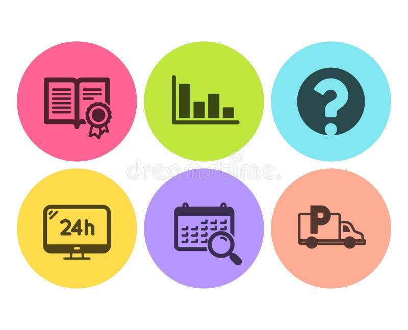 Calendário da busca, ponto de interrogação e grupo dos ícones do serviço 24h Sinais de estacionamento do histograma, do diploma e ilustração stock