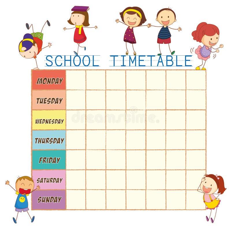 Calendário da escola com crianças da garatuja ilustração do vetor