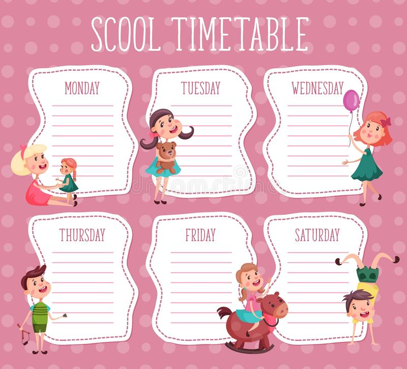 Calendário da escola Diário da educação para o aluno ilustração stock