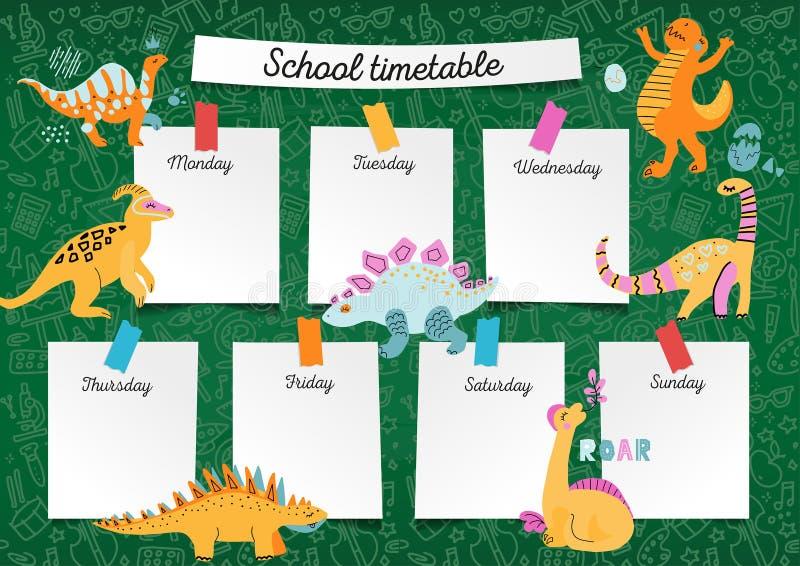 Calendário da escola no quadro-negro para algum planeamento Programação semanal da lição nas folhas de papel do caderno do aluno  ilustração do vetor