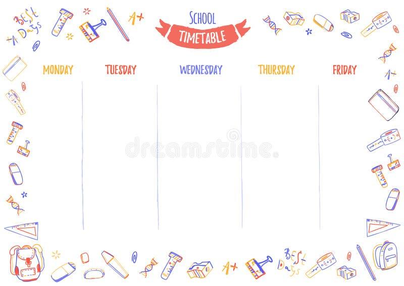 Calendário da escola para os alunos ou os estudantes com 5 dias da semana com fontes de escola coloridas da garatuja Organize seu ilustração stock