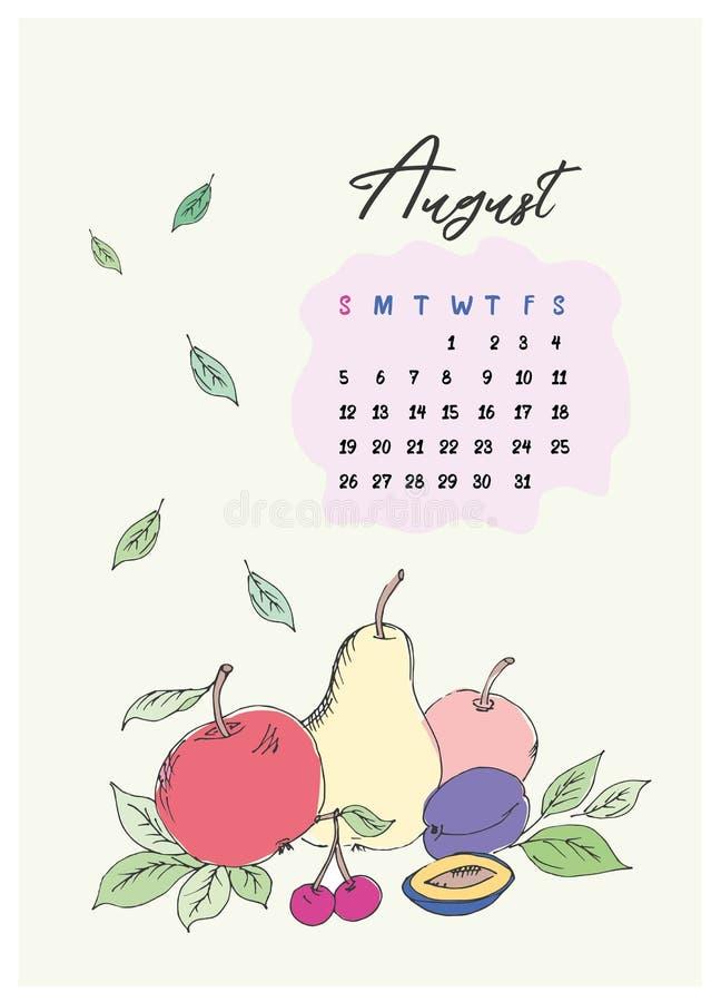 Calendário da garatuja para o mês de agosto de 2018 foto de stock royalty free