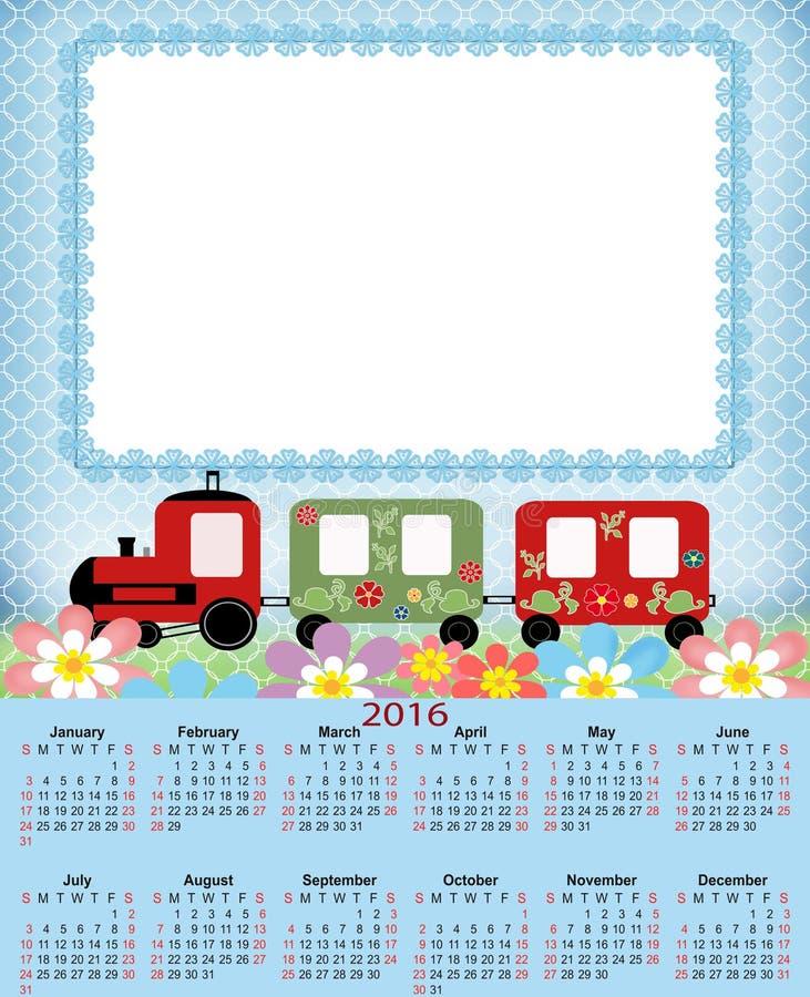 Calendário da ilustração para 2016 no projeto das crianças ilustração royalty free
