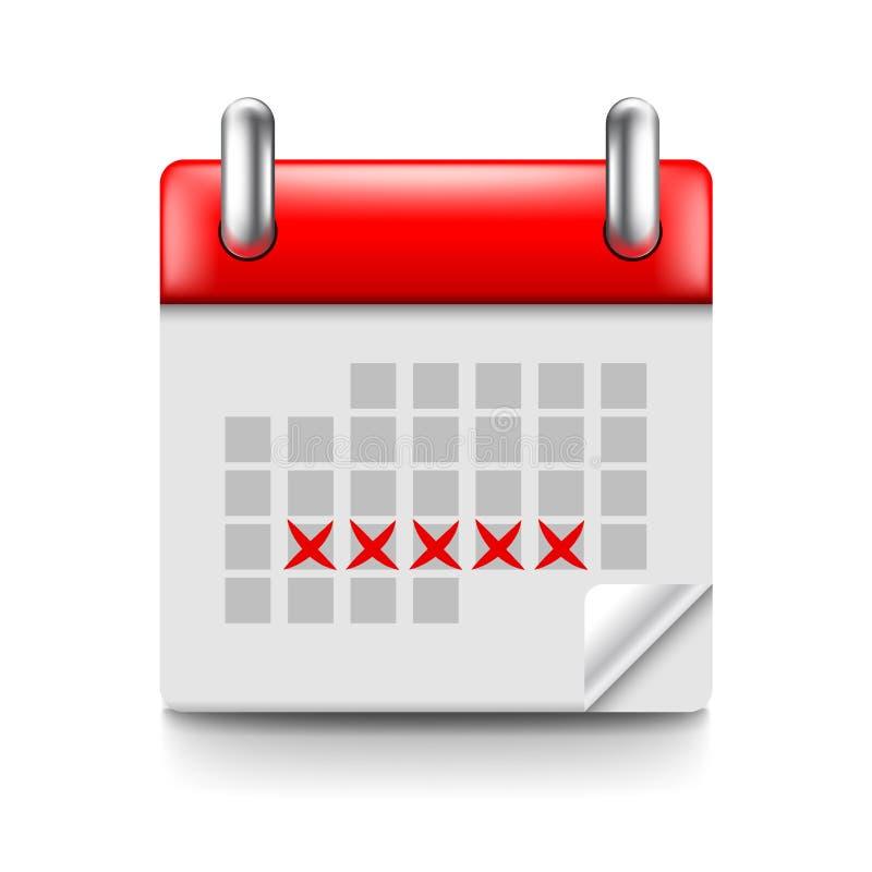 Calendário da menstruação isolado no vetor branco ilustração royalty free