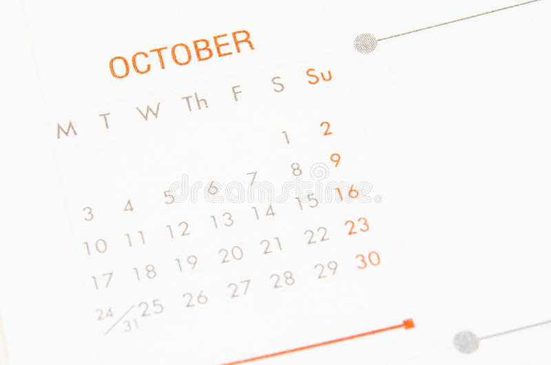 Calendário da página de outubro fotos de stock royalty free