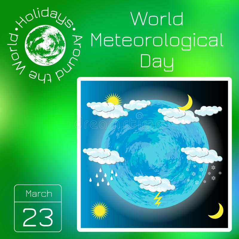 Calendário da série Feriados em todo o mundo Evento de cada dia do ano Dia meteorológico do mundo ilustração royalty free