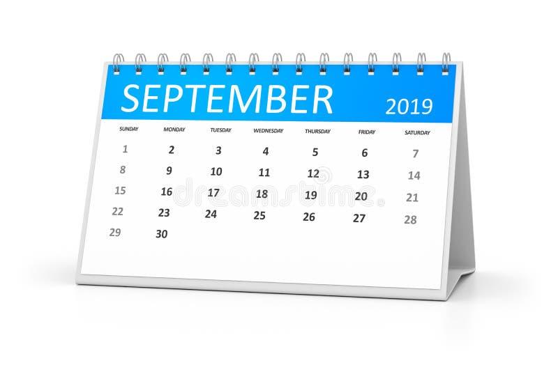 calendário da tabela 2019 setembro ilustração do vetor