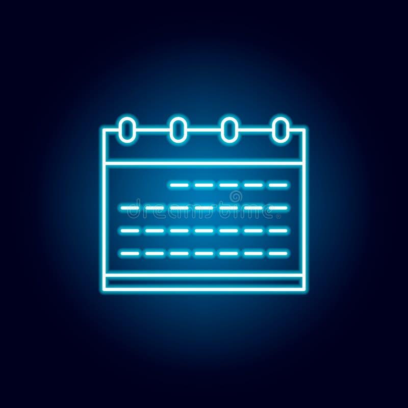 calendário, data, ícone do esboço da programação no estilo de néon elementos da linha ícone da ilustração da educação os sinais,  ilustração stock