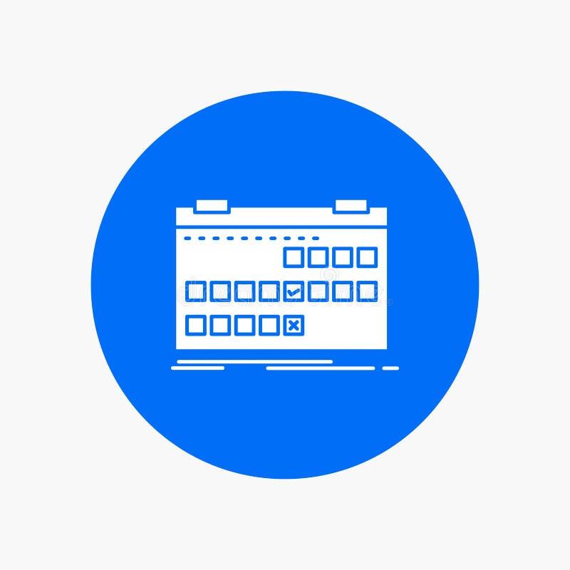 Calendário, data, evento, liberação, ícone branco do Glyph da programação no círculo Ilustra??o do bot?o do vetor ilustração royalty free