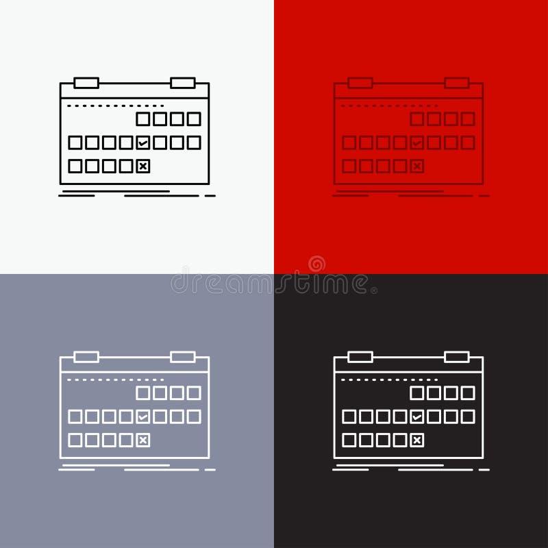 Calendário, data, evento, liberação, ícone da programação sobre o vário fundo Linha projeto do estilo, projetado para a Web e o a ilustração stock