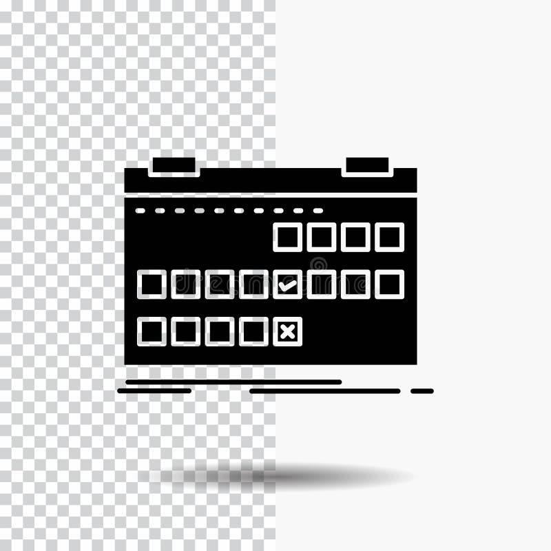 Calendário, data, evento, liberação, ícone do Glyph da programação no fundo transparente ?cone preto ilustração do vetor
