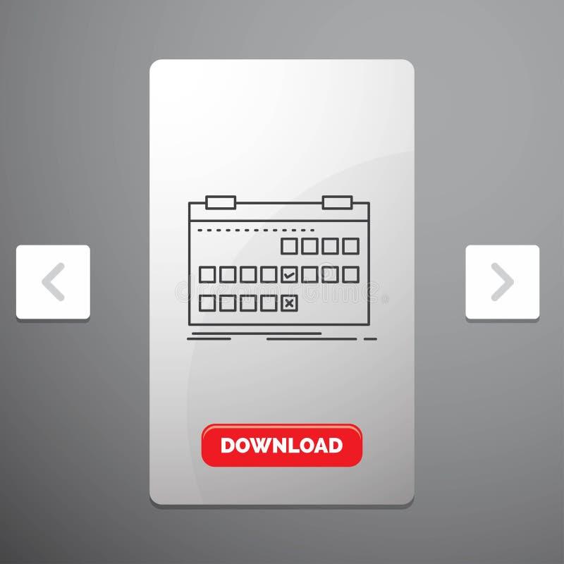 Calendário, data, evento, liberação, linha ícone da programação no projeto do slider das paginações do Carousal & botão vermelho  ilustração royalty free
