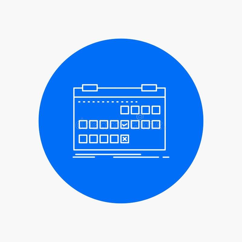 Calendário, data, evento, liberação, linha branca ícone da programação no fundo do círculo Ilustra??o do ?cone do vetor ilustração stock