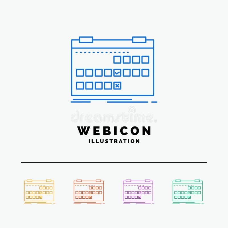 Calendário, data, evento, liberação, linha de cor molde da programação 5 do ícone da Web isolado no branco Ilustra??o do vetor ilustração royalty free