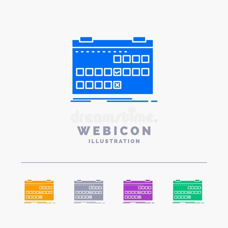 Calendário, data, evento, liberação, molde do ícone da Web do Glyph da cor da programação 5 isolado no branco Ilustra??o do vetor ilustração do vetor