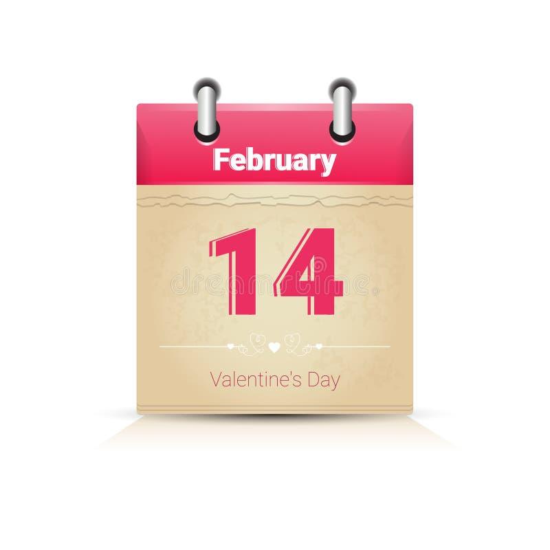 Download Calendário Data Página Saint Valentine Day O 14 De Fevereiro Ilustração do Vetor - Ilustração de colorido, liso: 80101794