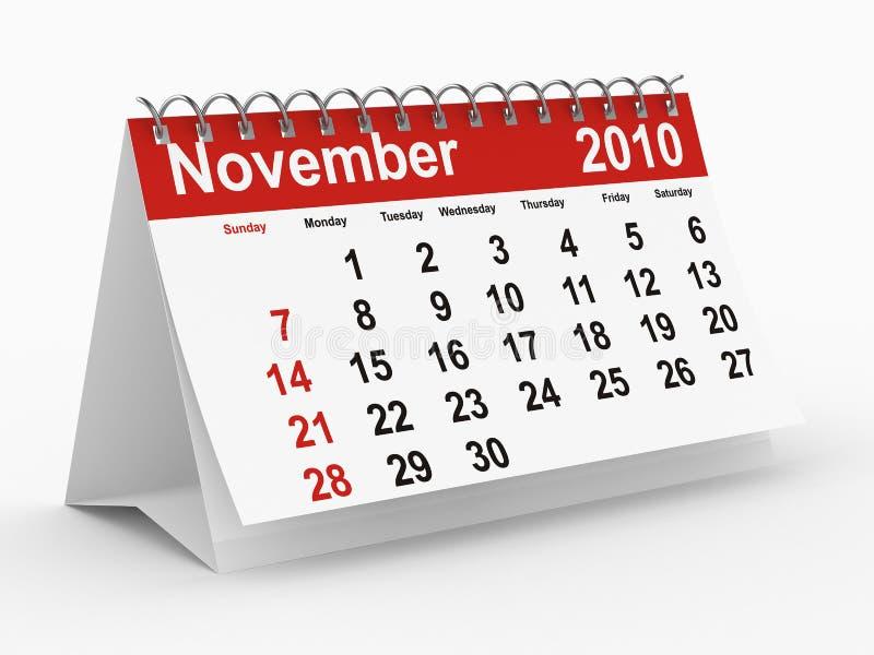 calendário de 2010 anos. Novembro ilustração stock