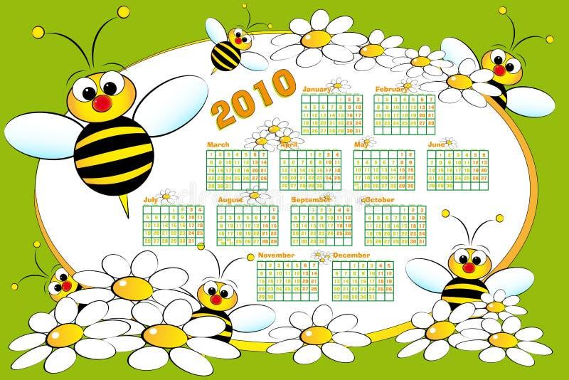 Calendário de 2010 miúdos com abelhas ilustração royalty free
