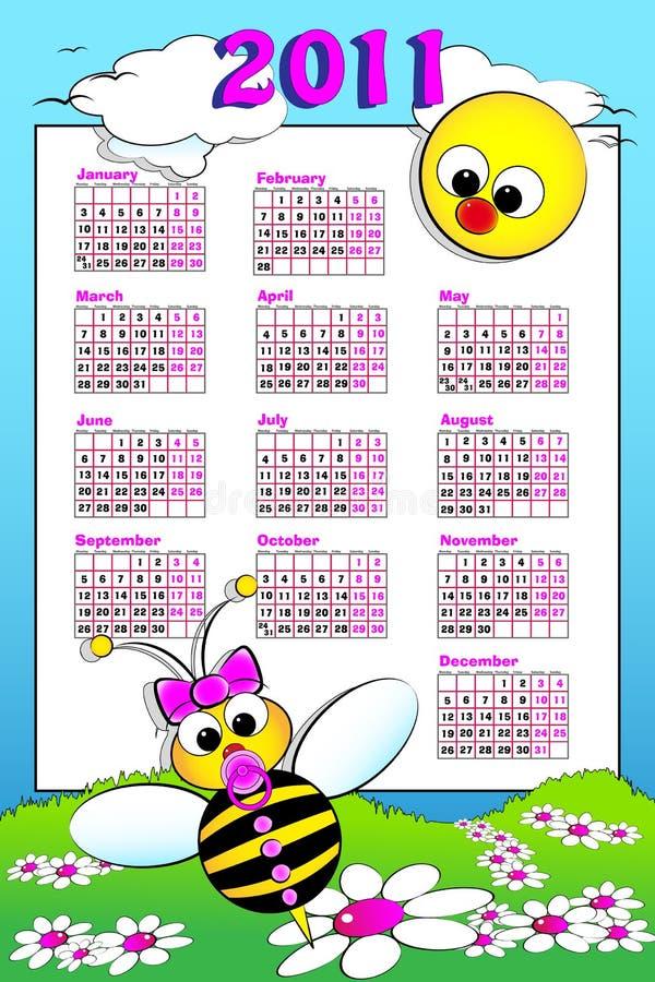 Calendário de 2011 miúdos com abelha do bebê ilustração royalty free