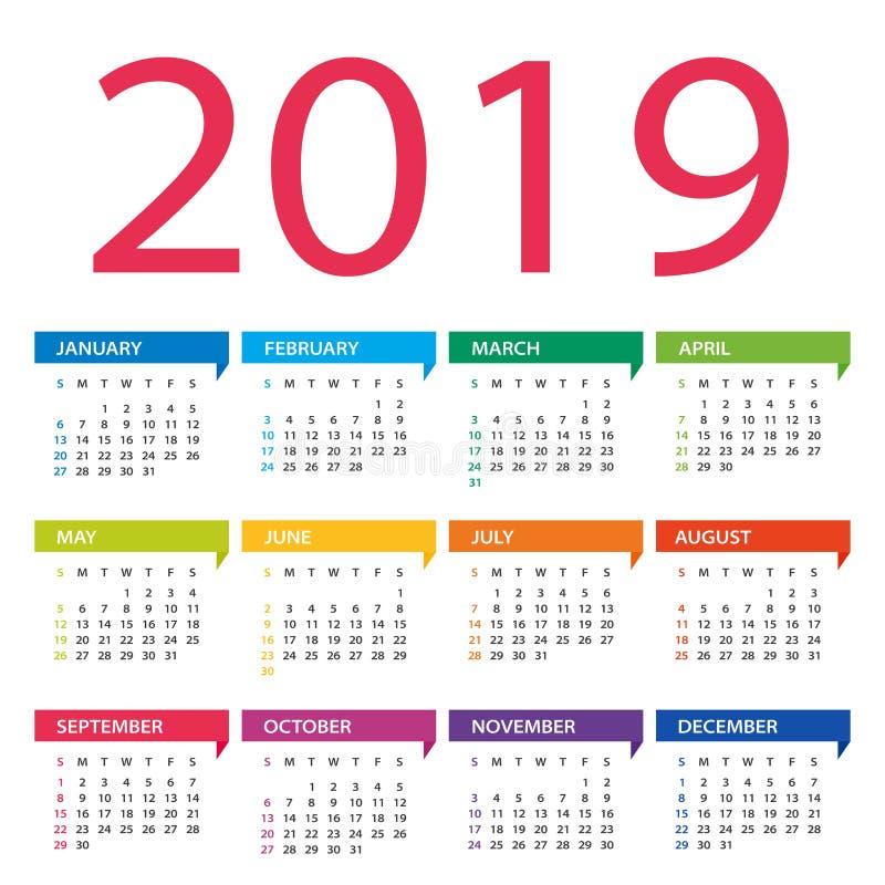 calendário de 2019 anos - ilustração do vetor Começos da semana em domingo ilustração royalty free