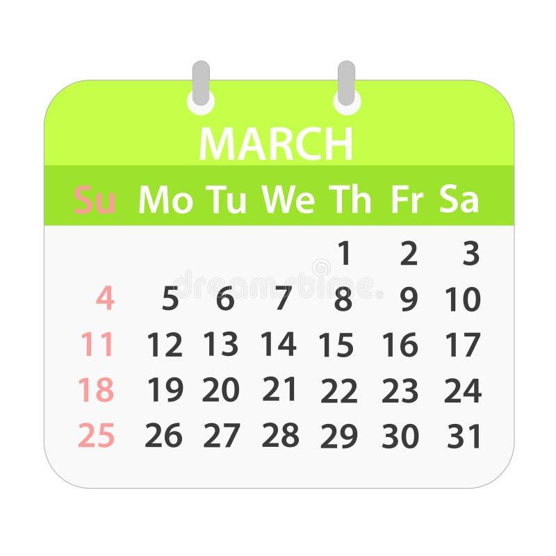 Calendário de bloco em março de 2018 no branco; ilustração conservada em estoque do vetor ilustração stock