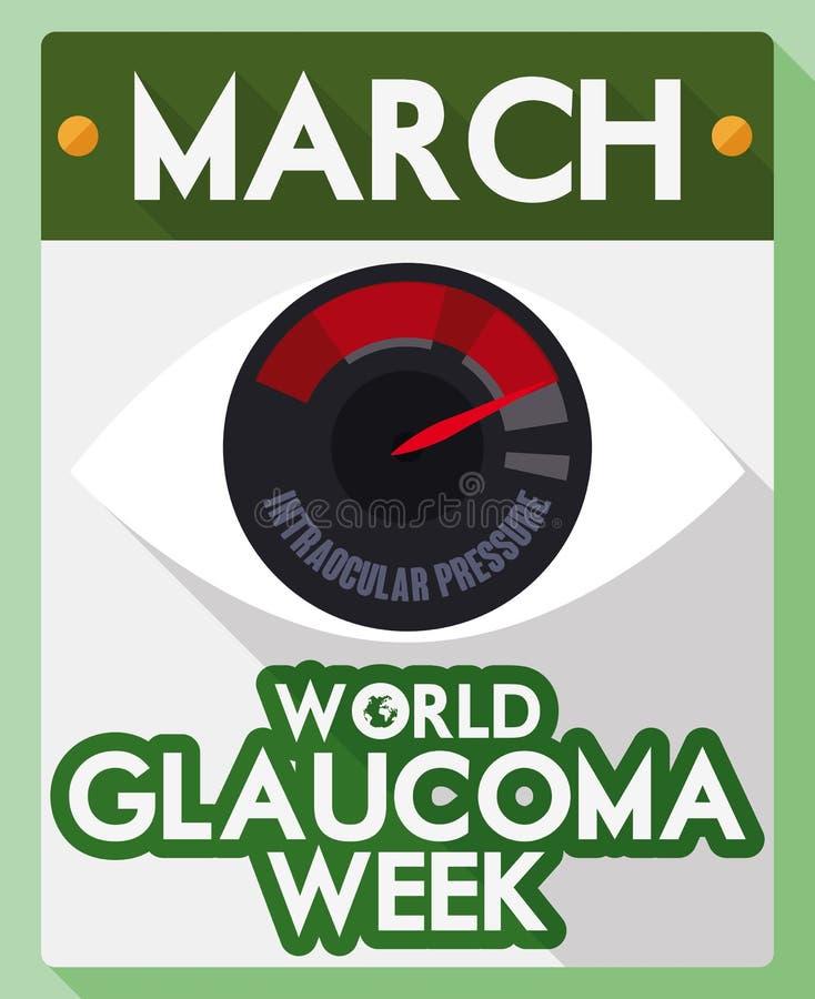 Calendário de folhas soltas com olho e lembrete para a semana da glaucoma do mundo, ilustração do vetor ilustração stock