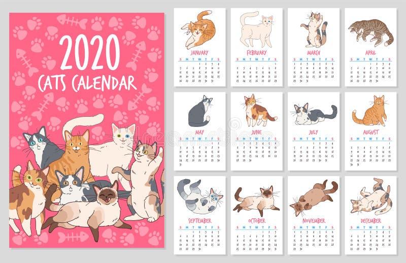 Calendário de gatos Planejador de 2020 com gatos bonitos, design desenhado à mão de gatinhos engraçados Conjunto vetorial ilustração royalty free
