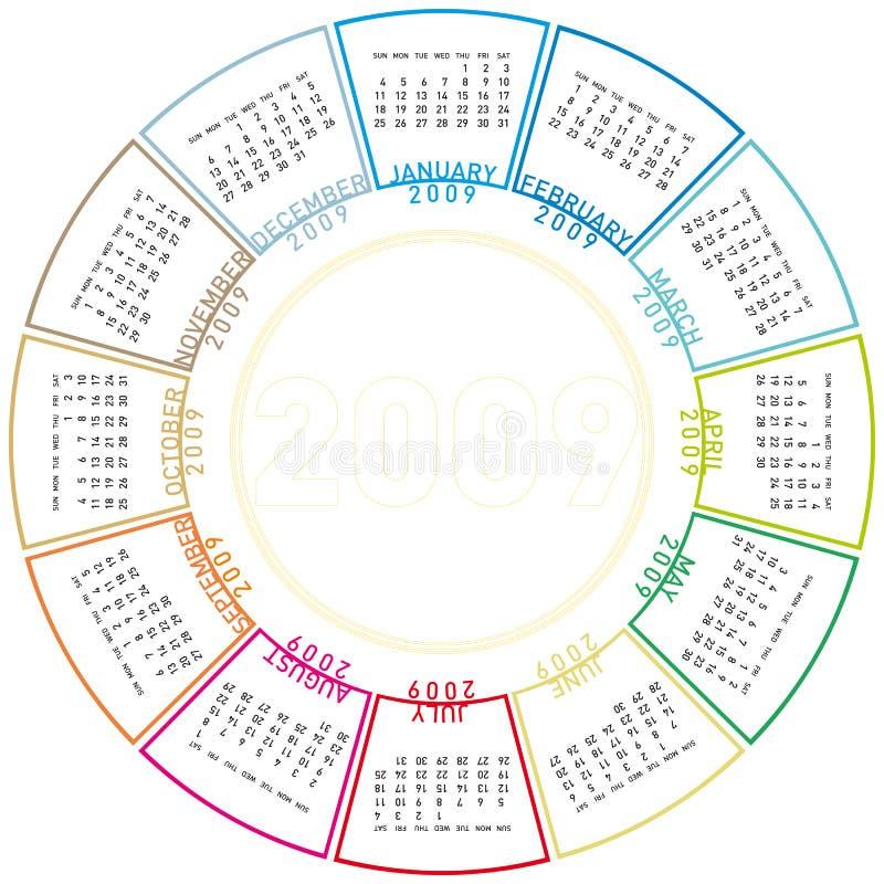 Calendário de giro colorido para 2009. ilustração royalty free