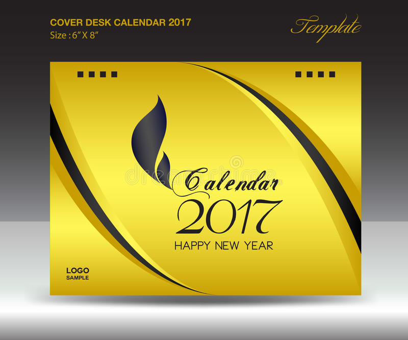Calendário de mesa 2017 polegada horizontal, tampa do tamanho 6x8 do ano do ouro ilustração royalty free