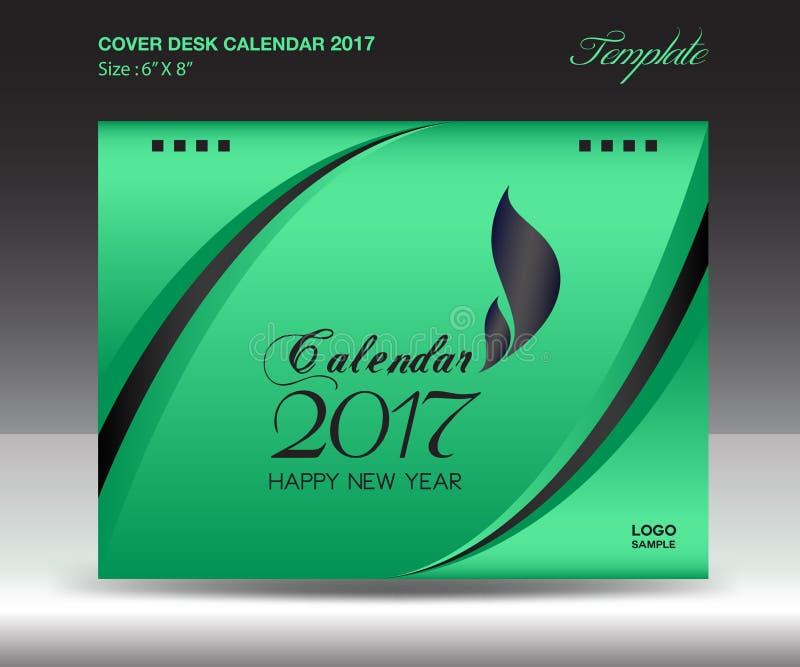 Calendário de mesa 2017 polegada horizontal, tampa verde do tamanho 6x8 do ano ilustração stock