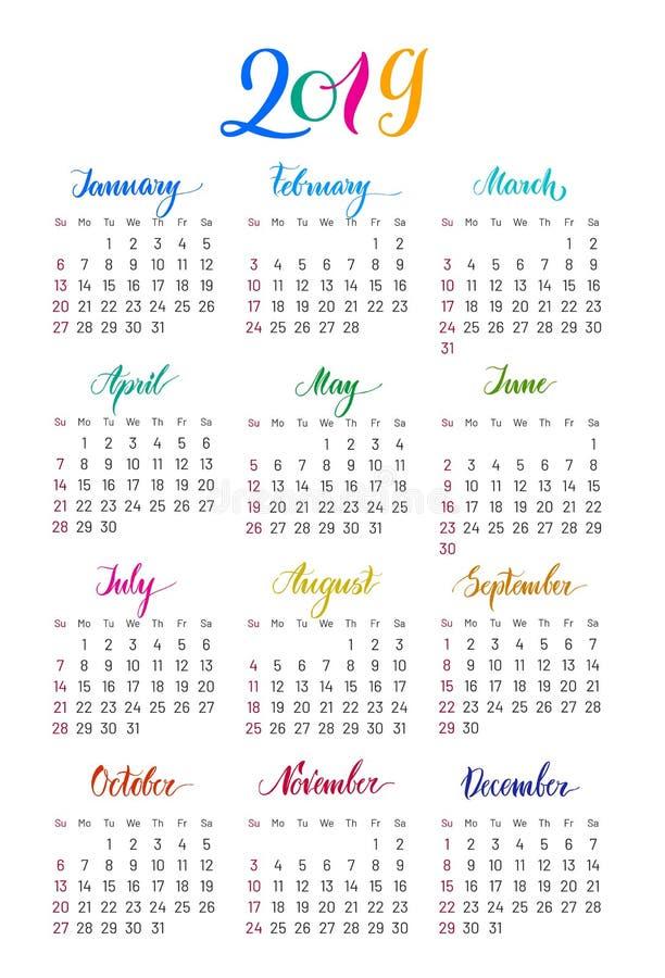 Calendário de parede liso 2019 anos, rotulação, lisa ilustração do vetor