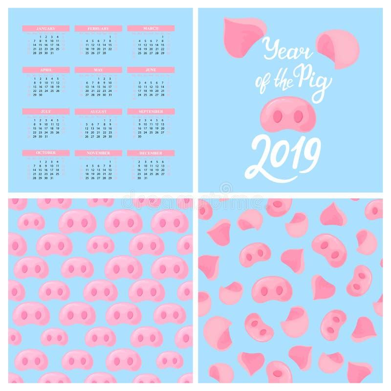 Calendário de parede para 2019 Ano novo chinês do porco Teste padrão sem emenda do nariz leitão Rotulação da mão Jogo de elemento ilustração do vetor