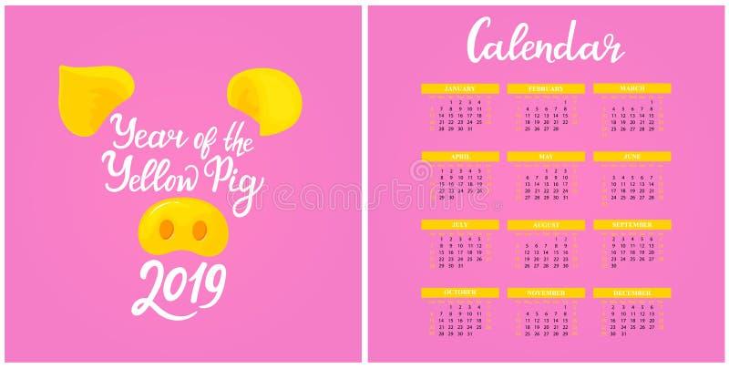 Calendário de parede para 2019 dos de domingo a sábado Ano novo chinês do porco amarelo ano novo feliz 2007 Rotulação da mão ilustração do vetor