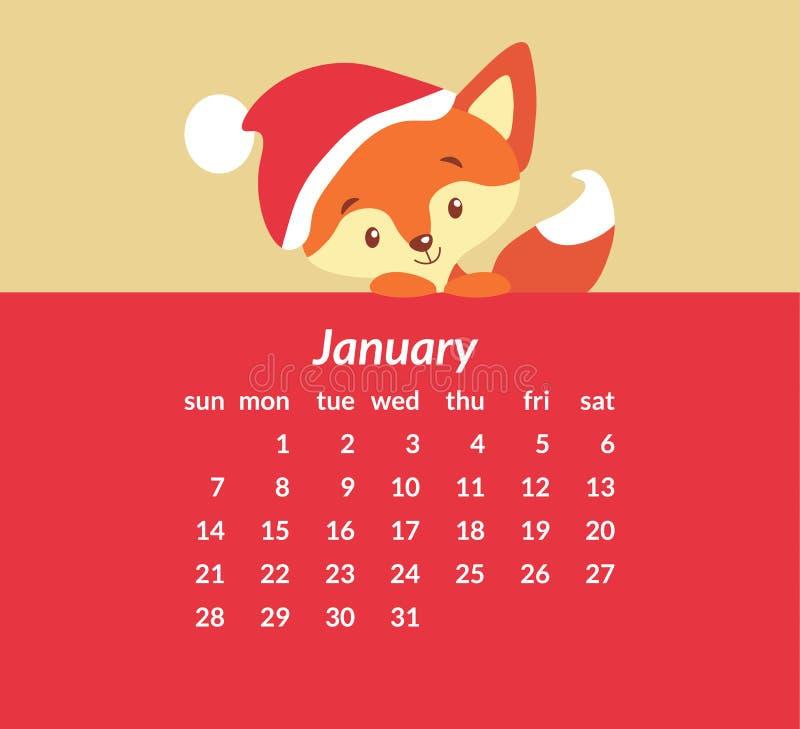 Calendário de parede para janeiro de 2018 ilustração stock