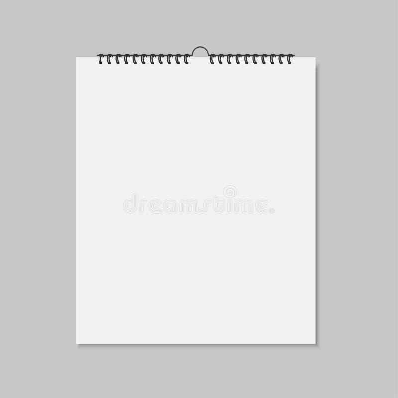 Calendário de parede vazia realístico do modelo Ilustração do vetor ilustração stock